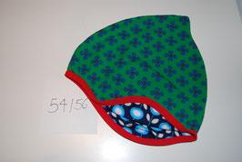 42 Helmmütze, Retroblumen auf Grün