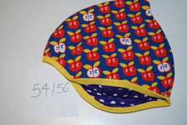 39 Helmmütze, Äpfel auf Dunkelblau
