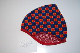32 Helmmütze, Rote Blumen auf Dunkelblau