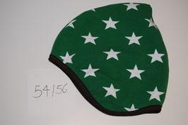 79 Helmmütze mit Fleecefutter, Stars auf Grün