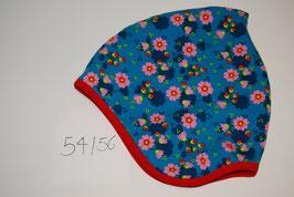 77 Helmmütze mit Fleecefutter, Sakura auf Türkis