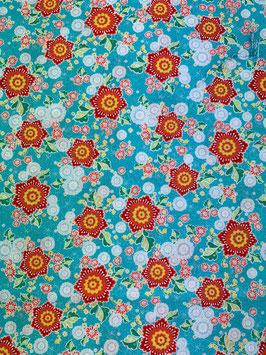 Textilmaske aus 100% Baumwolle *Flowerpower türkis*