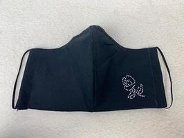 Textilmaske aus 100% Baumwolle *Uni Schwarz* mit Strassbesatz  *Rose*