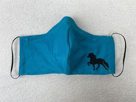 Textilmaske aus 100% Baumwolle *Uni Türkis* mit Stickerei Tölter in *Schwarz*