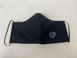 Textilmaske aus 100% Baumwolle *Uni Schwarz* mit Strassbesatz  *Herz*