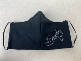 Textilmaske aus 100% Baumwolle *Uni Schwarz* mit Strassbesatz  *Schleife*