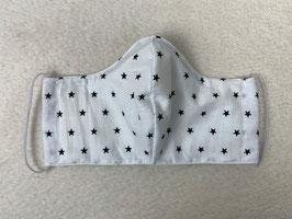 Textilmaske aus 100% Baumwolle *Weiß mit schwarzen Sternen*