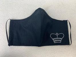 Textilmaske aus 100% Baumwolle *Uni Schwarz* mit Strassbesatz  *Krone*