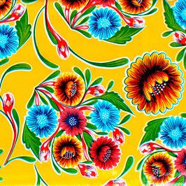 Wachstuch-Tischdecke FLORAL-Gelb