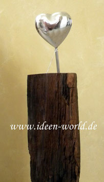 Holz Unikat mit Herz aus Metall