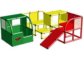Bällehaus mit Klettertunnel und Babyrutsche