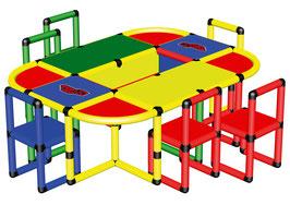 Spieltisch mit 6 Stühlen