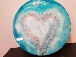 Bergkristall Türkis Herzbild auf Leinwand 30cm