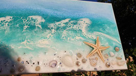 ART Kunstharz (Resin) Ocean Bild auf Leinwand Mini rechteckig
