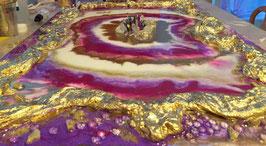 Resin Kunstbild mit Kristallen 40x60cm auf Holz