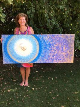 Nautilus ART Bild Blau – Gold   Ozean 60 x 150cm  Acryl auf Leinwand
