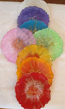 Resin Chakraset Untersetzerli 7 Stk in den Chakrafarben ohne Aufkleber Blume des Lebens