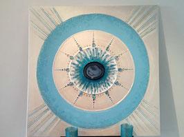 Aqua Aura - Achat Bild mit Christusenergie geladen Hellblau/Perlmutt  80x80cm