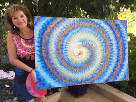 Nautilus ART Bild Blau – Gold   Spirale 80 x 120cm Acryl auf Leinwand
