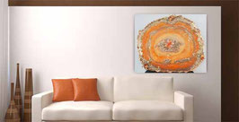 Resin Kristallgeode Orange 50x70cm auf Holz