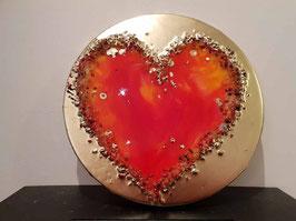 Rotes Feuer - Resin Herz    runde Form 30cm auf Leinwand
