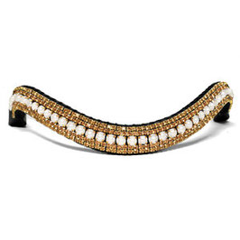 Stirnriemen Rhinestone Gold & Pearl
