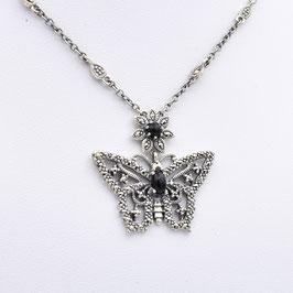 """Collier """"Schmetterling"""" aus oxidiertem 925-Sterlingsilber, Onyx und Markasiten"""