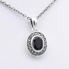 Collier aus oxidiertem 925-Sterlingsilber, schwarzem Spinell und Markasiten