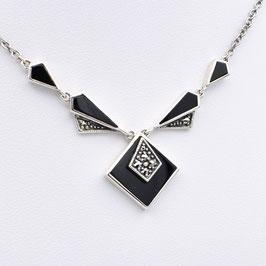 Art-Deco-Collier aus 925-Silber, Onyx und Markasit