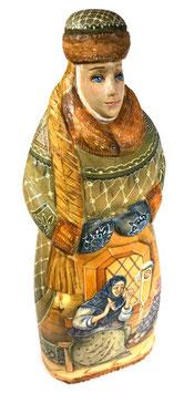 """Exklusive Russische Holzfigur """"Bojarentochter"""", geschnitzt und sehr schön handgemalt, Artikel HOLZ07"""