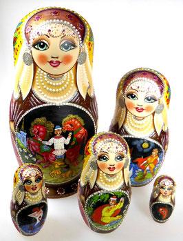 5-teilige Russische Matrjoschka mit Russischen Märchen Motiven, Steckpuppe, handgemalt, Artikel MAT7
