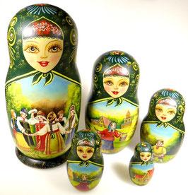 5-teilige Russische Matrjoschka mit Russischen Folklore Motiven, Steckpuppe, handgemalt, Artikel MAT3
