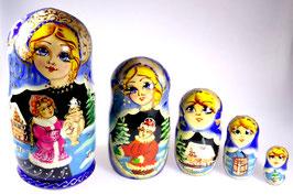 5-teilige Russische Matrjoschka mit Russischer Folklore, Steckpuppe, handgemalt, Artikel MAT9