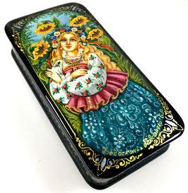 Sonnenblumen - handgemalte Russische Schatulle Lackdose Fedoskino, Artikel WP42