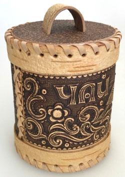 Russische Dose Mehrzweckdose Teedose aus Birkenrinde, Artikel BIR17