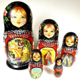 5-teilige Russische Matrjoschka mit Russischen Märchen Motiven, Steckpuppe, handgemalt, Artikel MAT5