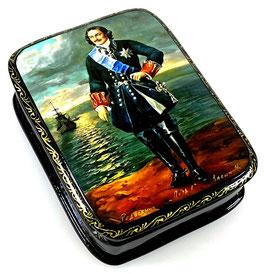 Peter der Große - Russische Schatulle Lackdosen Fedoskino, Artikel HER26