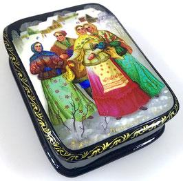 Russische Mädels - Russische Schatulle Lackdosen Fedoskino, Artikel FOLK18