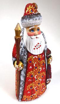 """Exklusive Russische Holzfigur """"Väterchen Frost"""", geschnitzt und sehr schön handgemalt, rot, Artikel HOLZ04"""