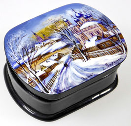 """""""Winter"""" handgemalte Russische Schatulle Lackdose mit Perlmutteinlage aus Fedoskino, Artikel JZ05"""