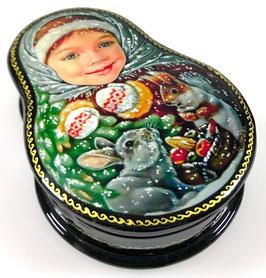 Russisches Mädchen - Russische Schatulle Lackdose, Fedoskino, Artikel KIND15