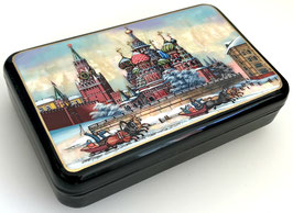 """""""Roter Platz in Moskau"""" handgemalte Russische Schatulle Lackdose aus Fedoskino, Artikel MOS01"""