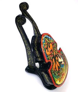 """""""Feuervogel"""", handgemalte Russische Schatulle Lackdosen Form eines Kontrabasses Mstjora, Artikel FEU07"""