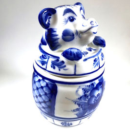 Honigtopf - Russische Porzellanmanufaktur Gzhel, handmade, Artikel Gzhel01