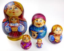 5-teilige Russische Matrjoschka mit Musikanten, Steckpuppe, handgemalt, Artikel MAT8