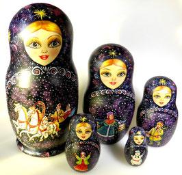 5-teilige Russische Matrjoschka mit Russischen Folklore Motiven, Steckpuppe, handgemalt, Artikel MAT4