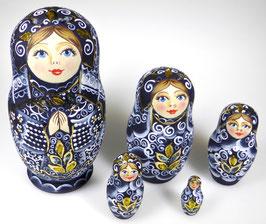 5-teilige Russische Matrjoschka, Steckpuppe, handgemalt, Artikel MAT2