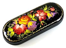 """Russische Lackmalerei, handgemaltes Brillenetui """"Blumen"""", Fedoskino, Artikel BR15"""