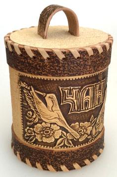 Russische Dose Mehrzweckdose Teedose aus Birkenrinde, Artikel BIR19
