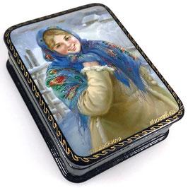 Dorfmädchen - Russische Schatulle Lackdose, Fedoskino, Artikel KIND11